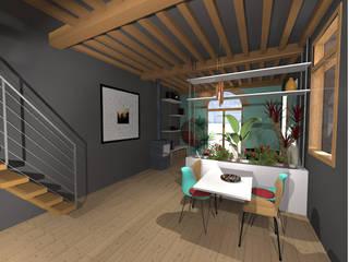 Réaménagement d'une maison de ville sur 2 niveaux: Salle à manger de style  par LADD by Audrey Scotto