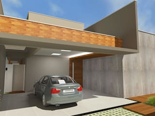 Garajes dobles de estilo  de Júlio Padilha Fabiani - Arquiteto