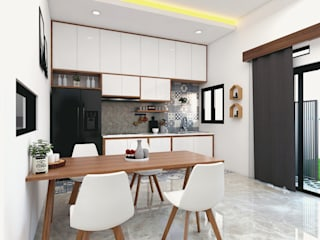 HUNIAN TROPIS DI RANAH MINAG:  Dapur built in by CASA.ID ARCHITECTS