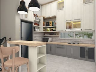 SCANDINAVIAN MOOD DESIGN CASA.ID ARCHITECTS Dapur built in Kayu Buatan Grey
