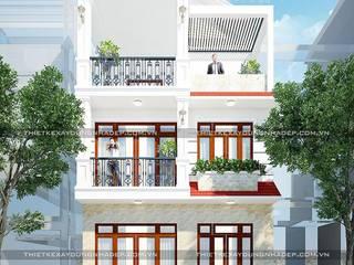 Bản vẽ nhà mặt tiền 7m đẹp ở Hóc Môn bởi Công ty cổ phần tư vấn kiến trúc xây dựng Nam Long