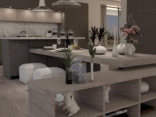 TAVOLONE E BASE CON CREDENZA PORTA OGGETTI: Cucina attrezzata in stile  di Lambda Design