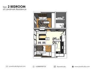 Apartemen Landmark II - Tipe  2 Bedroom (Design I):   by POWL Studio