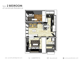 Apartemen Landmark II - 2 Bedroom (Design II):   by POWL Studio