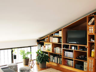 Qiarq . arquitectura+design Living roomTV stands & cabinets Wood Beige