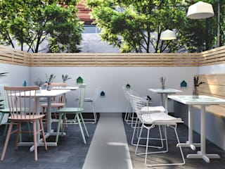 Outdoor Seating Arrangement Scandinavian style bars & clubs by Studio Gritt Scandinavian Concrete