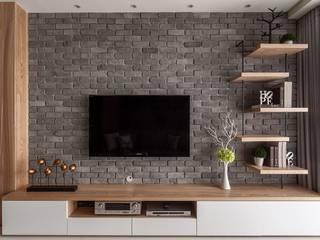 灰牆:  客廳 by 鼎士達室內裝修企劃
