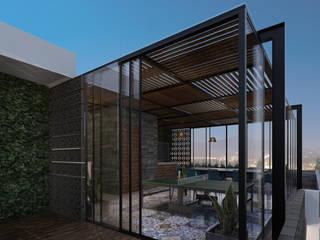Residencia GA [Silao, Gto.] 3C Arquitectos S.A. de C.V. Balcones y terrazas modernos Hierro/Acero Negro