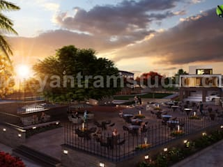 3D Exterior Residential Community Apartment Rendering by Yantram Architectural Visualisation Studio, Moscow - Qatar Yantram Architectural Design Studio Modern