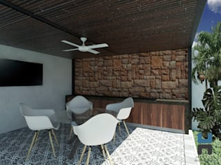 Barra de servicio: Terrazas de estilo  por Heftye Arquitectura