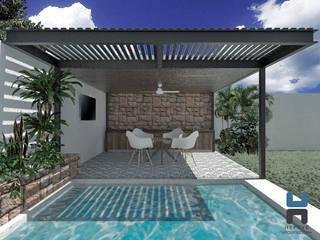 Alberca con Terraza Bar: Albercas de jardín de estilo  por Heftye Arquitectura