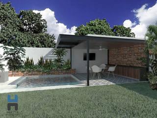 Conjunto de alberca y techumbre ligera: Albercas de jardín de estilo  por Heftye Arquitectura