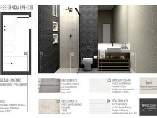 Residencia em Escarpas: Banheiros  por Marcelo Sena Arquitetura