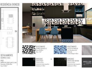 Residencia em Escarpas: Cozinhas  por Marcelo Sena Arquitetura