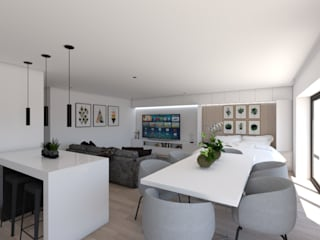 Apartamento na Ericeira Type01 Salas de estar modernas por DR Arquitectos Moderno