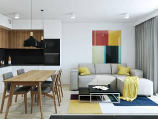 Salon w projekcie mieszkania w Krakowie: styl , w kategorii Salon zaprojektowany przez MACZ Architektura - Architekt wnętrz Kraków