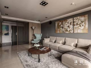 台中林公館 - 中古公寓大樓翻修 现代客厅設計點子、靈感 & 圖片 根據 漢玥室內設計 現代風
