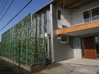 玄関とグリーンウォール: 株式会社高野設計工房が手掛けた木造住宅です。