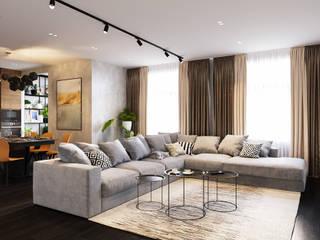Квартира в 155 кв.м. в современном стиле в ЖК Флагман.: Гостиная в . Автор – Студия архитектуры и дизайна Дарьи Ельниковой