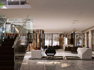 3D Interior Cafe & Reception Rendering ideas by Yantram Architectural and Design Services, Bern - UK Modern Koridor, Hol & Merdivenler Yantram Architectural Design Studio Modern