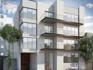 Vista fachada principal: Condominios de estilo  por NEU ARQUITECTURA