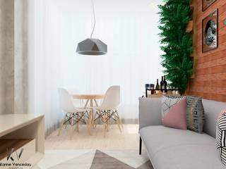 Apto Ondina: Salas de estar  por Karine Venceslau Arquitetura,Industrial