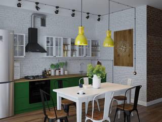 Загородный дом с элементами лофта и скандинавского стилей: Кухни в . Автор – Юлия Буракова, Лофт