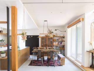 土間キッチンの家 house_in_nishiyama: タイラ ヤスヒロ建築設計事務所/yasuhiro taira architects & associatesが手掛けたダイニングルームです。,