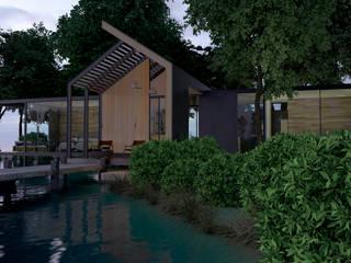 casa en el lago. Arquitectura en cancun.: Cabañas de madera de estilo  por ELOARQ,