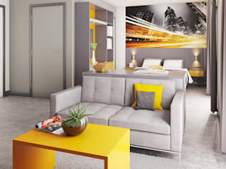View 3 of Studio Apartment CRISP3D Modern style bedroom Bricks Yellow