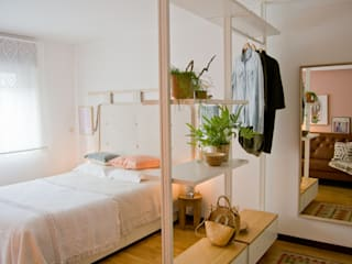 Quarto com inspiração natural: Quartos  por Tangerinas e Pêssegos - Design de Interiores & Decoração no Porto