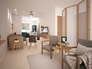 Casa Cozumel: Salas de estilo  por Escaleno Taller de Diseño