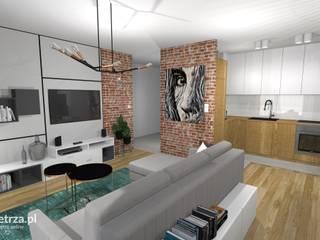Salon w mieszkaniu na wynajem w inwestycji Front Park Motława Nowoczesny salon od e-wnetrza.pl - Architekci wnętrz on-line Nowoczesny