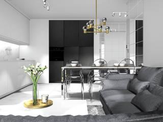 Salon z widokiem na kuchnię i jadalnię: styl , w kategorii Salon zaprojektowany przez 91m2 Architektura Wnętrz