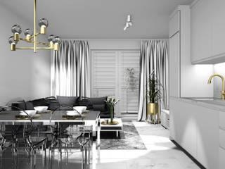 Kuchnia, jadalnia, salon: styl , w kategorii Kuchnia zaprojektowany przez 91m2 Architektura Wnętrz