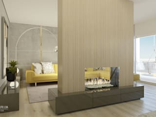 SALA COM LAREIRA:   por Glim - Design de Interiores