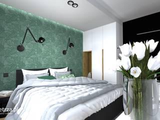 Sypialnia w mieszkaniu na wynajem w inwestycji Front Park Motława Nowoczesna sypialnia od e-wnetrza.pl - Architekci wnętrz on-line Nowoczesny
