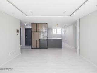 동탄인테리어 시범다은마을 우남퍼스트빌 아파트 리모델링 by.n디자인인테리어: N디자인 인테리어의  거실