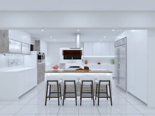 T -shaped Rivonia kitchen white gloss by Linken Designs