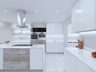 T -shaped Rivonia kitchen white gloss:   by Linken Designs ,