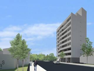 Fachada Edificio vista sur: Condominios de estilo  por SINERGIA ARQUITECTURA