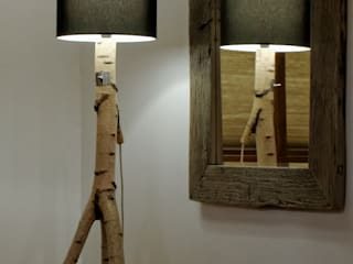 Floor lamp made of birch branches Meble Autorskie Jurkowski SalonesIluminación Madera Blanco