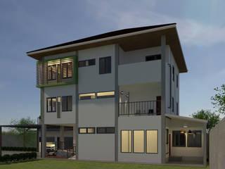 บ้านจำลอง 3D 3 ชั้น โดย บริษัท พี นัมเบอร์วัน ดีไซน์ แอนด์ คอนสตรัคชั่น จำกัด โมเดิร์น