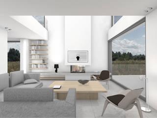 Wohnzimmer mit Blick auf Kamin und Galerie:  Wohnzimmer von BENJAMIN VON PIDOLL I ARCHITEKTUR