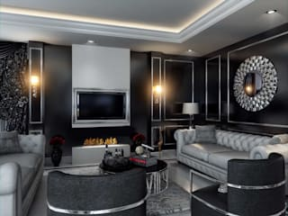 ANTE MİMARLIK Modern living room Black