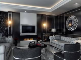 ANTE MİMARLIK Salones de estilo moderno Negro