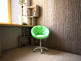 Interior Kamar Tidur r.studio Kamar tidur kecil Metal Wood effect