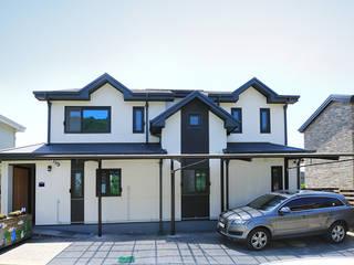 박공지붕의 멋을 살린 목조주택 (경기도 파주시) 모던스타일 주택 by 더존하우징 모던
