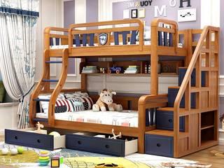 Giường 2 tầng gỗ sồi đẹp GTE051:   by Xưởng nội thất Thanh Hải
