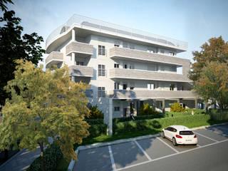 Prospetto Ovest e parti comuni: Condominio in stile  di Studio Corbetta architettura e design